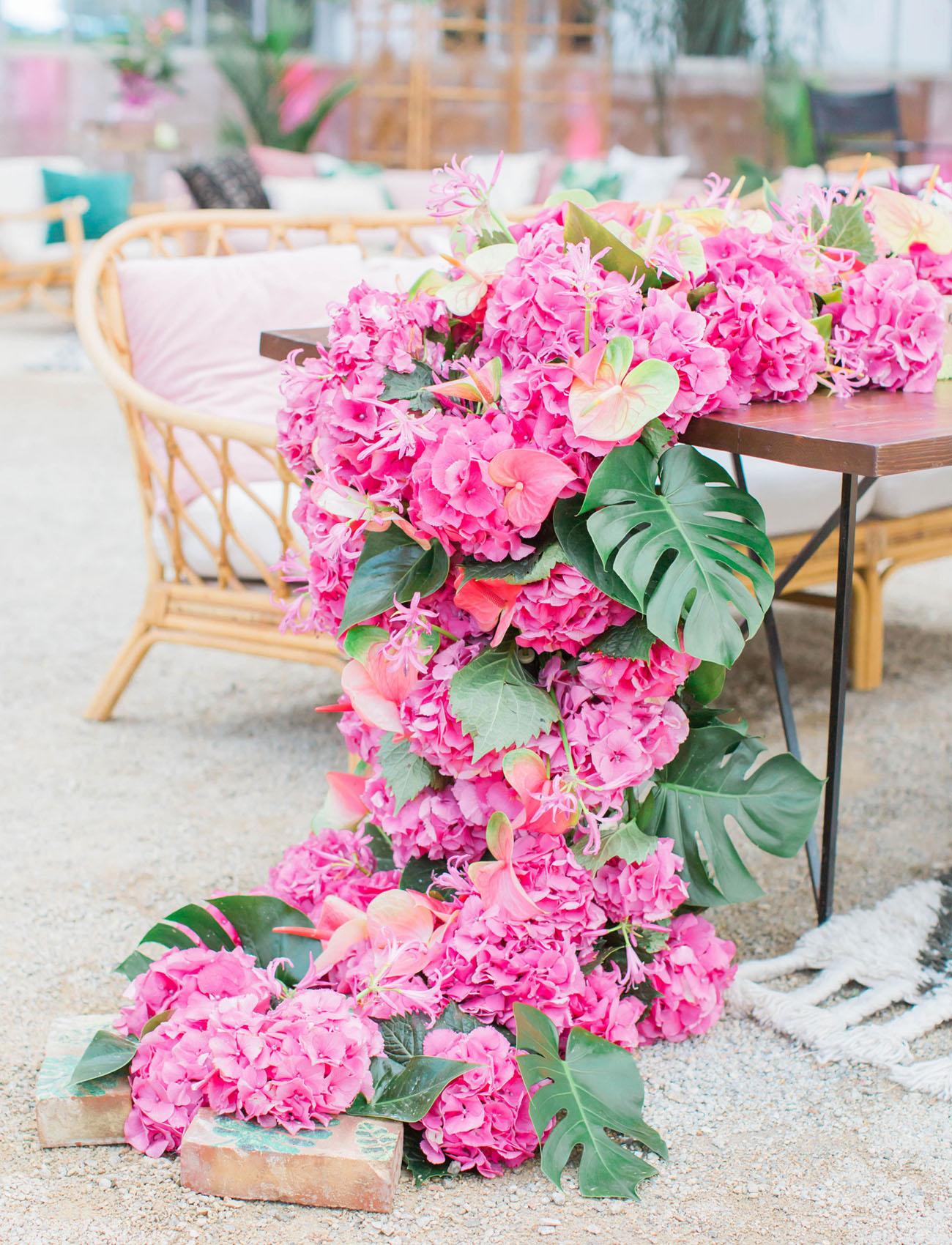 K'Mich Weddings - wedding planning - centerpiece alternatives - floral runner - green wedding shoes