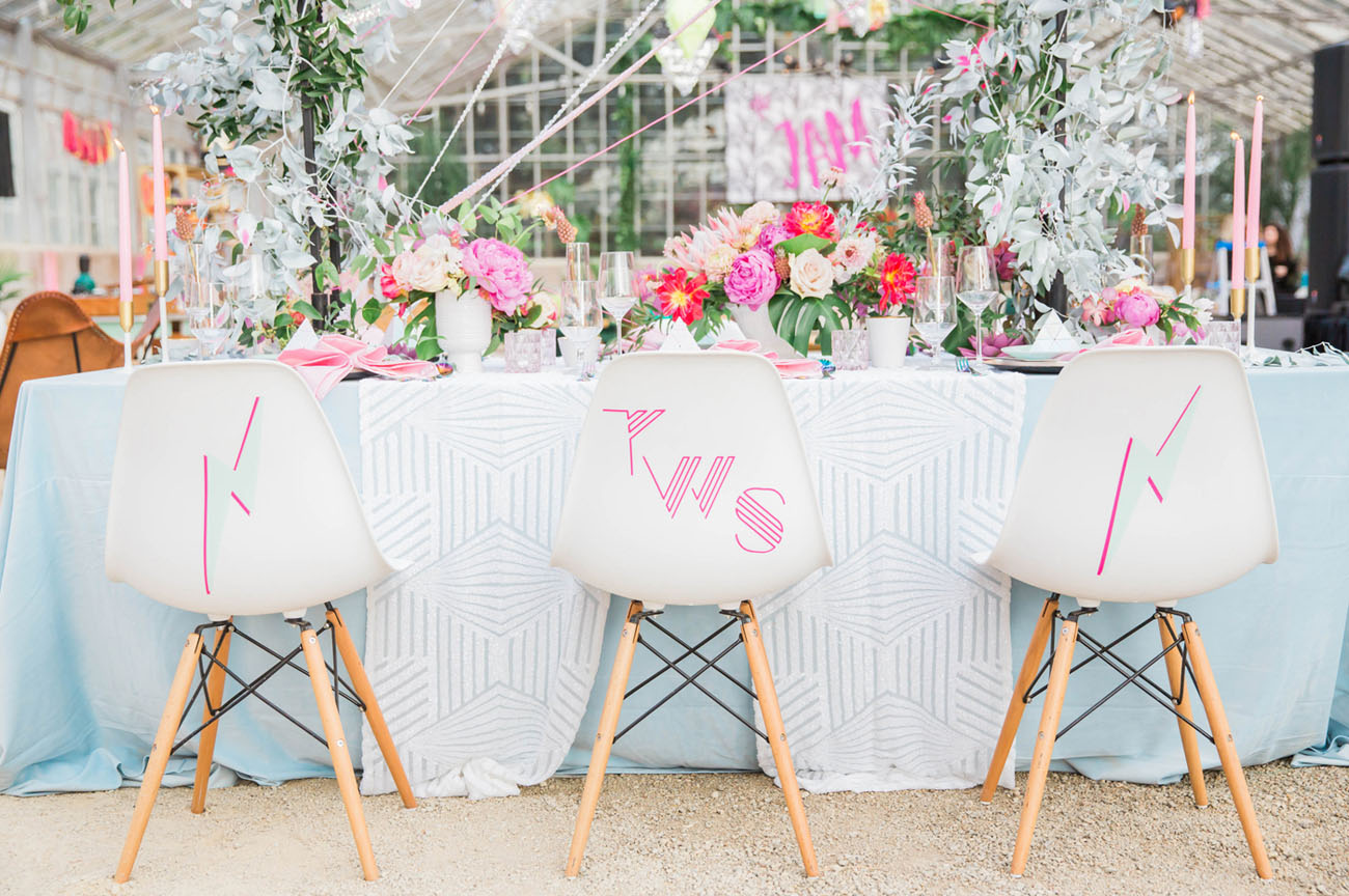 white chair with decals