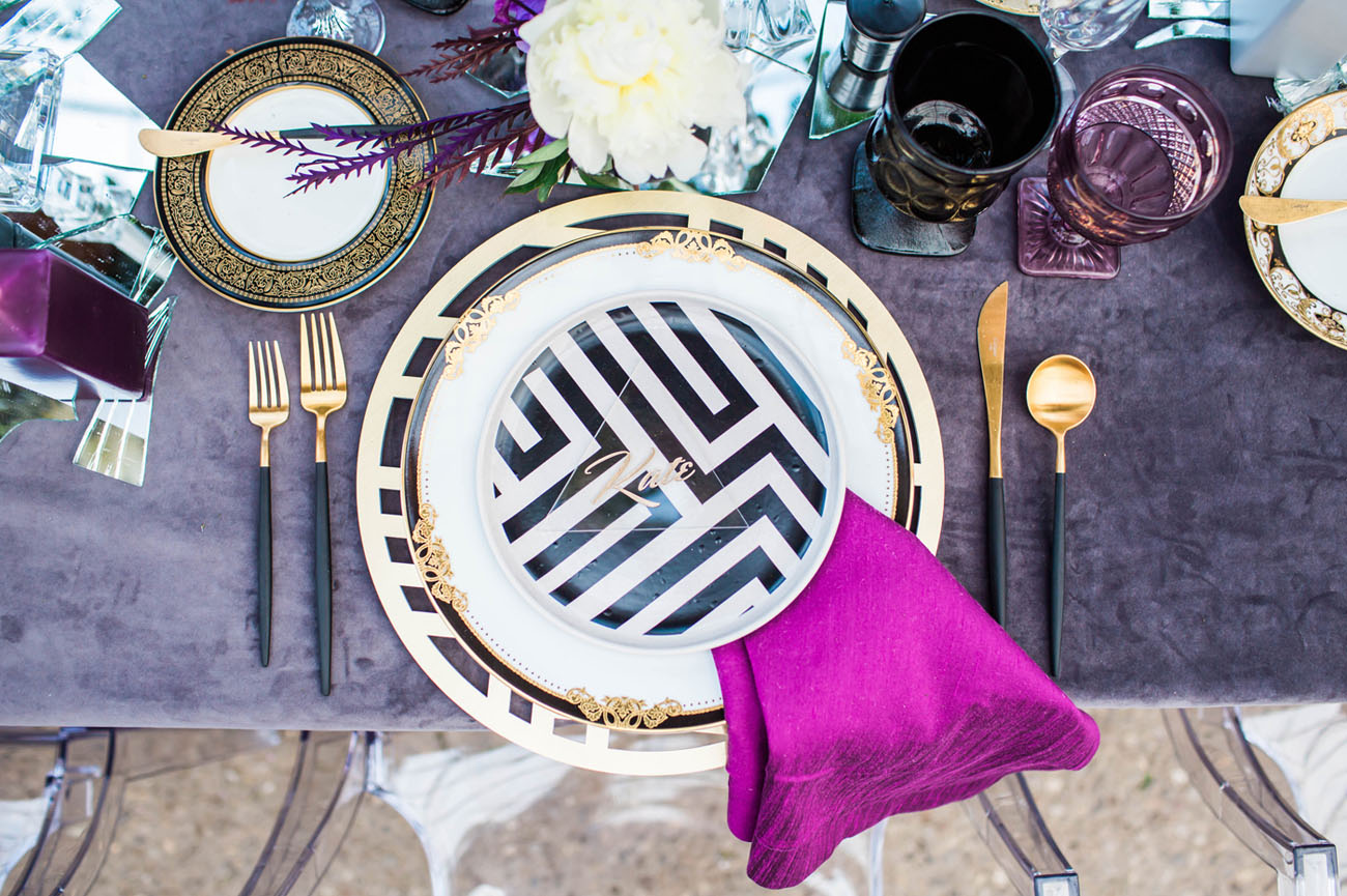 striped tableware