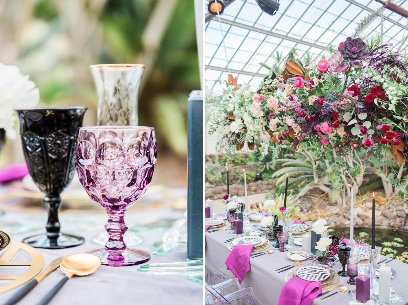 purple colored glassware