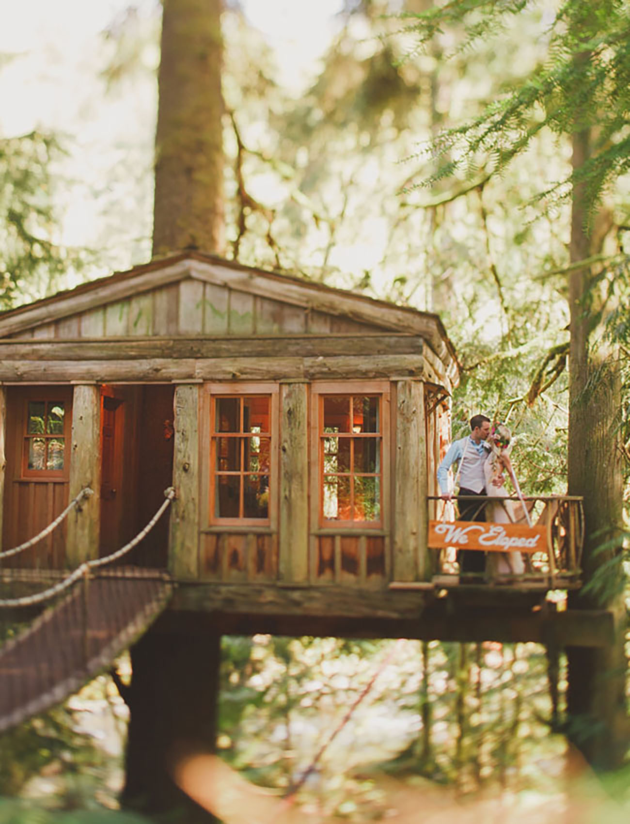 Visit PointFall City, Washington to find a place to elope in a full size treehouse....much better than the ones you built as a kid