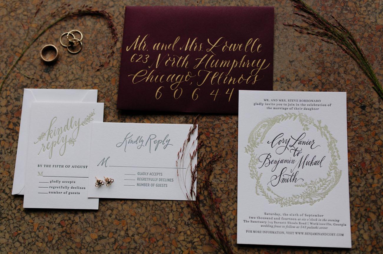 maroon and gold invitation