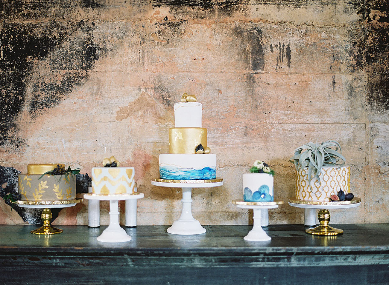 blue and gold cakes