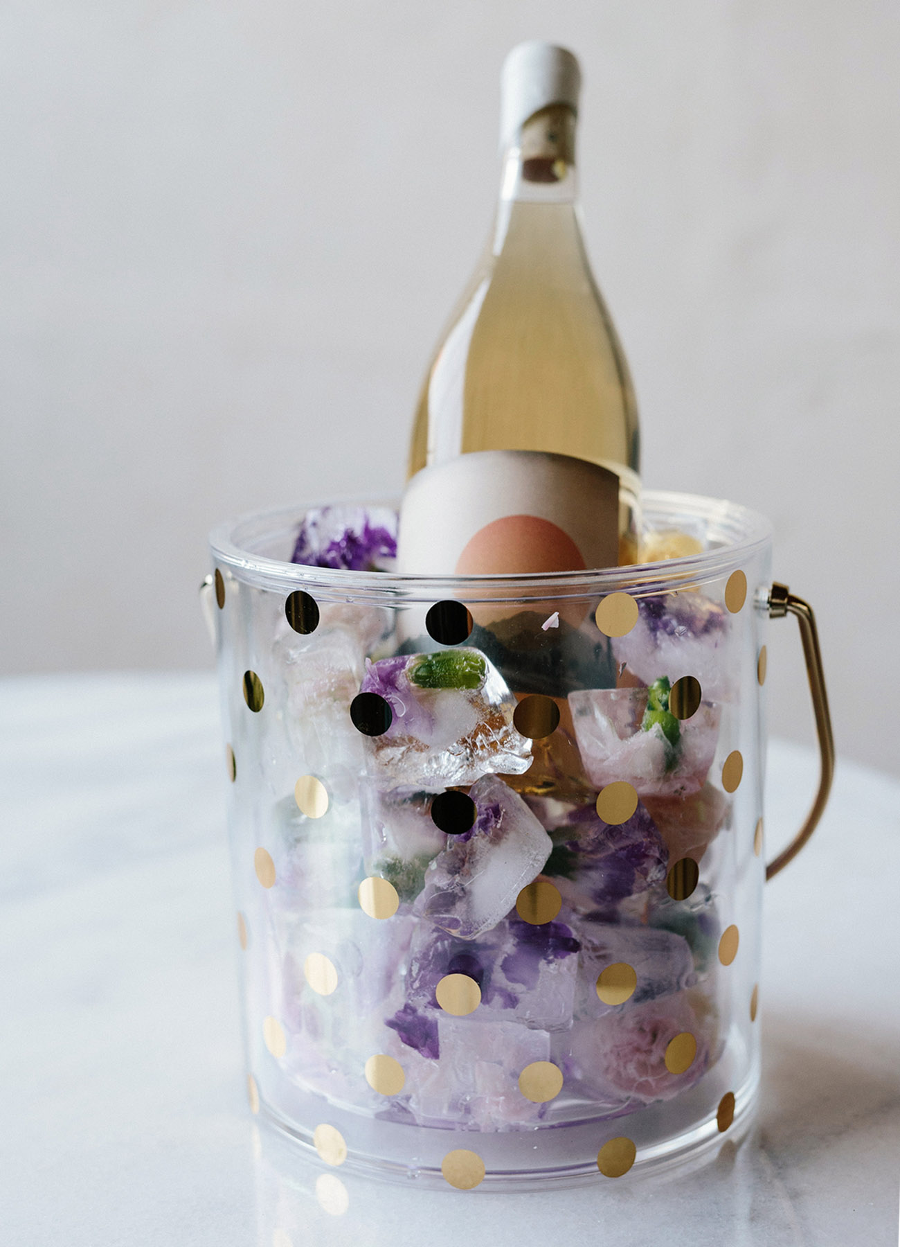 Kate Spade Ice Bucket with floral ice cubes