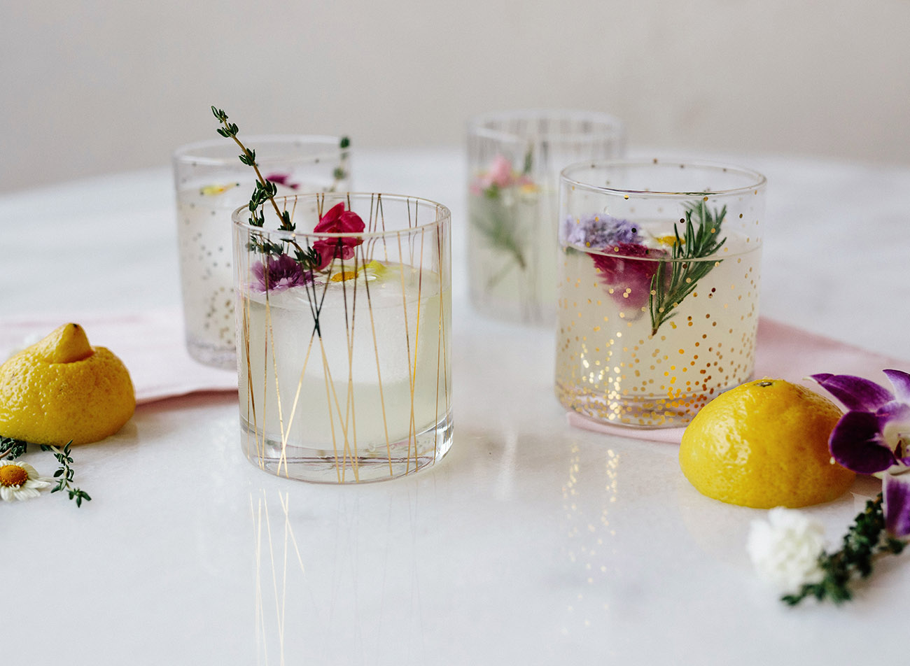 Gold Rimmed Cocktail Glasses