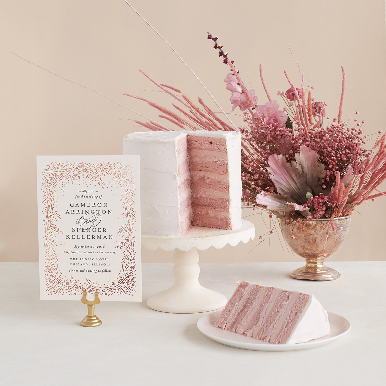 Pink Wedding Cake and Invitation
