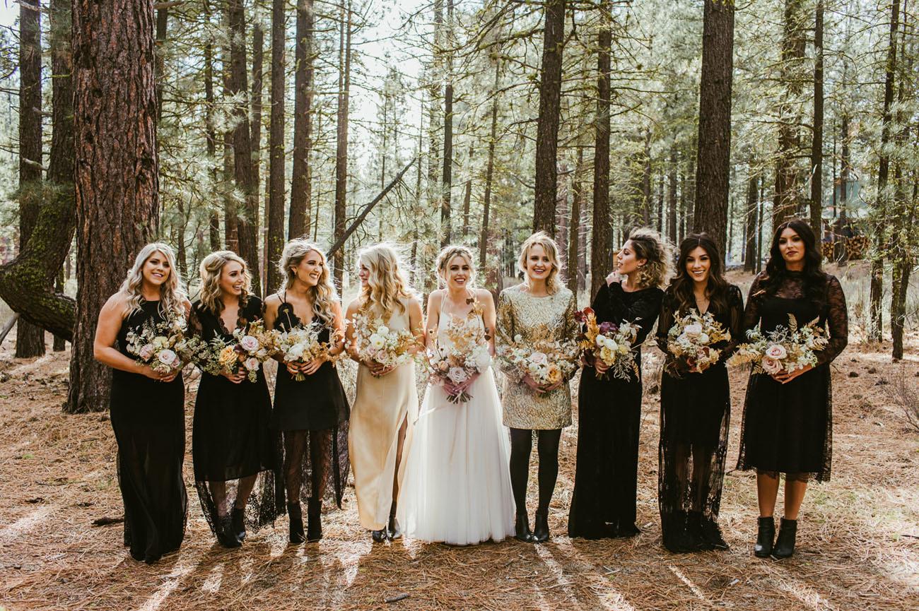 black and golden bridesmaids