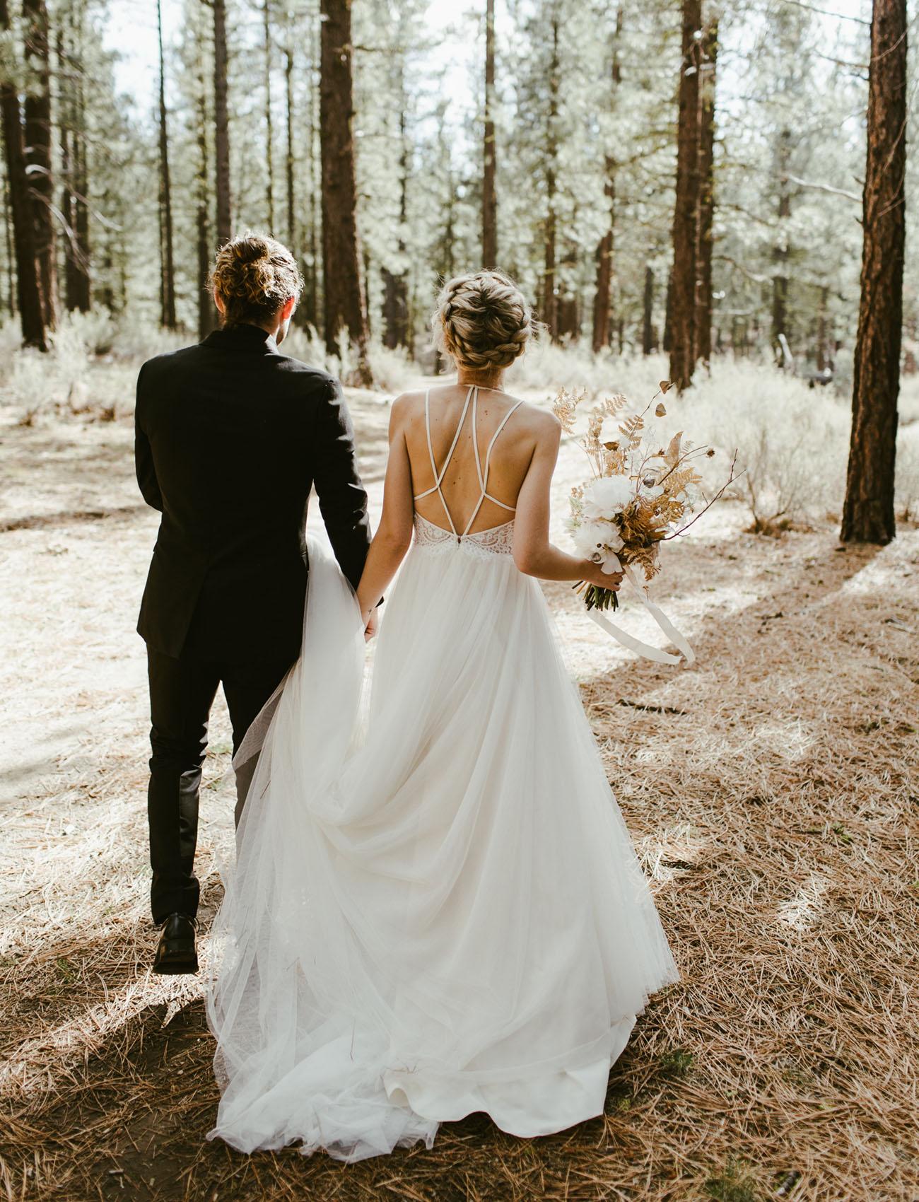 Modern edgy forest wedding in northern california for Wedding dresses northern california