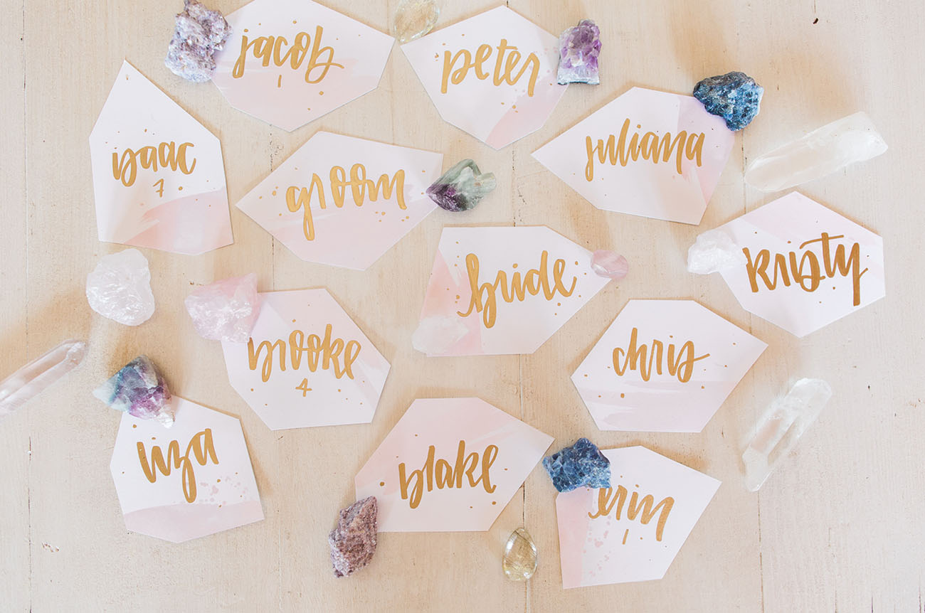 watercolor rock escort cards