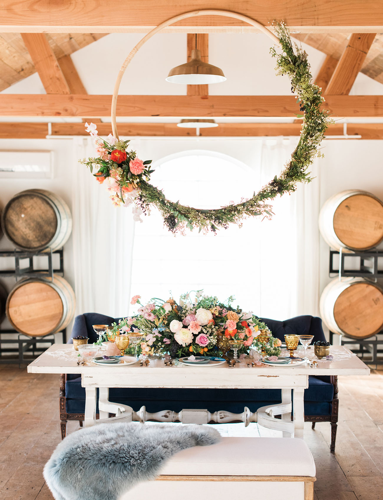 floral hoop reception