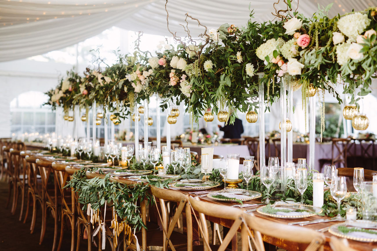 East Coast Garden Wedding With a Jaw-Dropping Flower Wall  Green