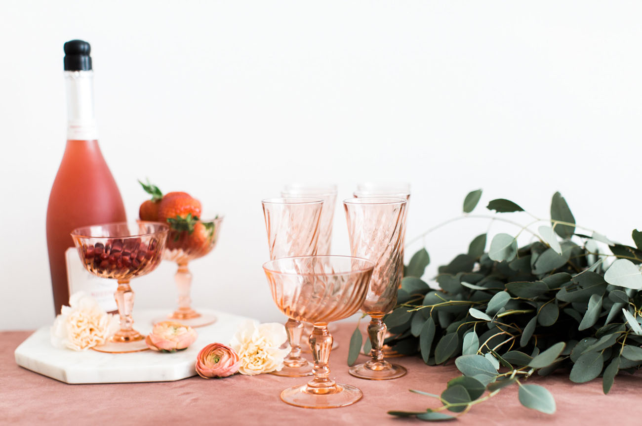 pink colored glassware