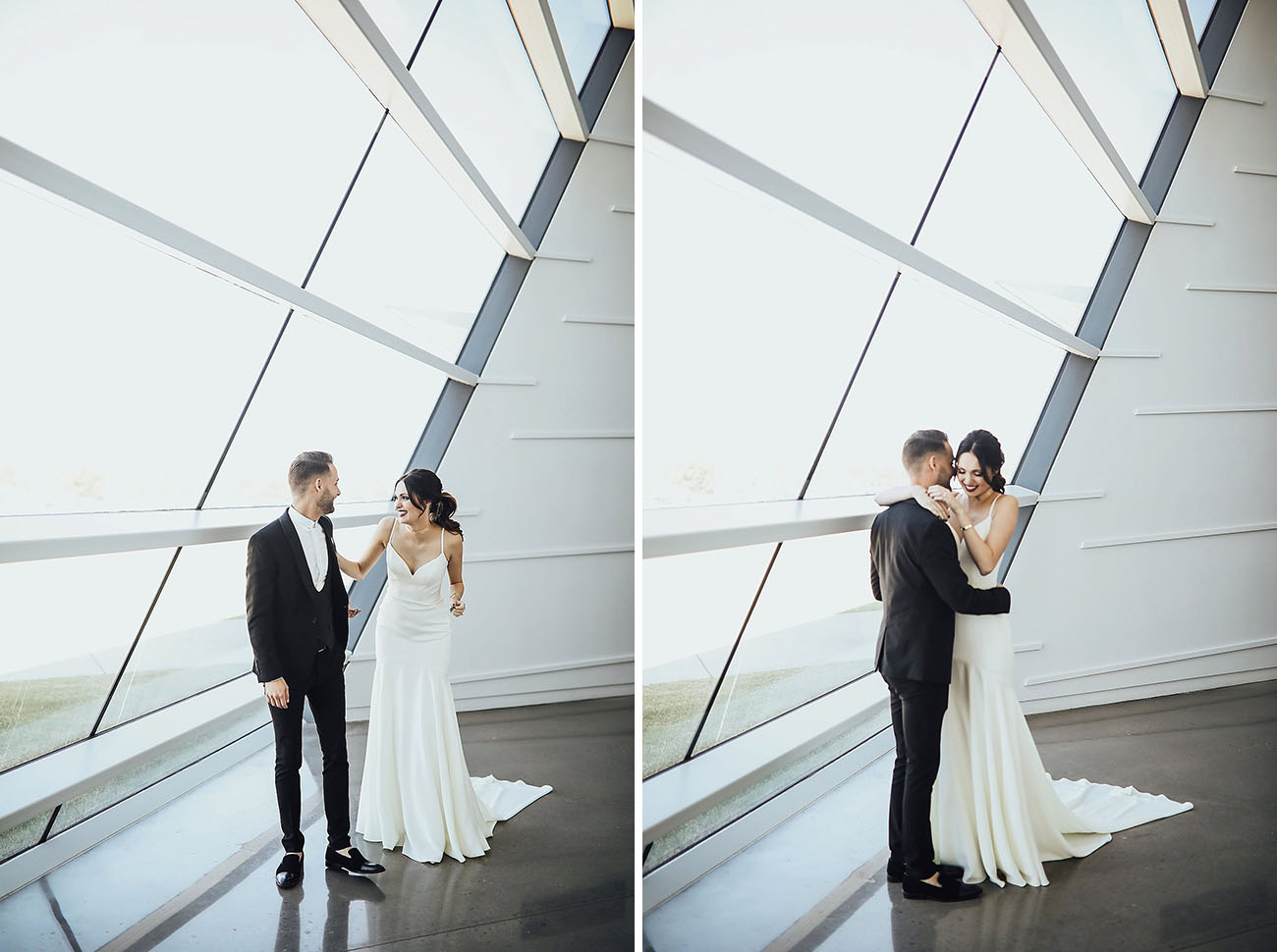 First Look Stylish Minimalistic Wedding