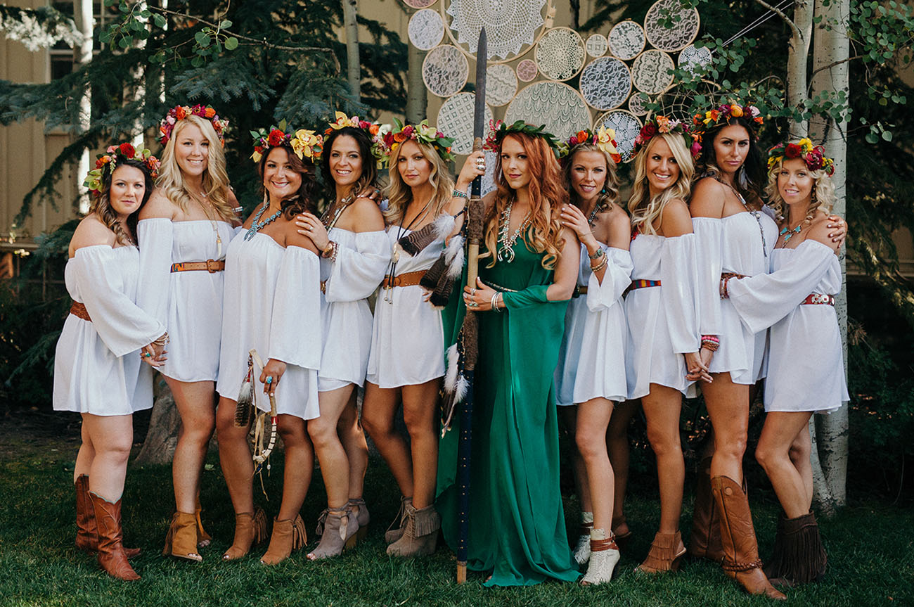 this bride threw her bridesmaids the ultimate boho party the day before the wedding