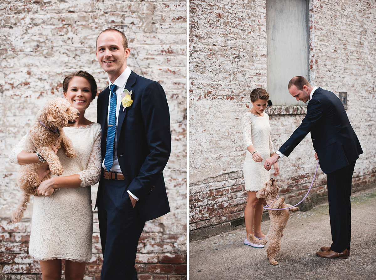 bride and groom with puppy