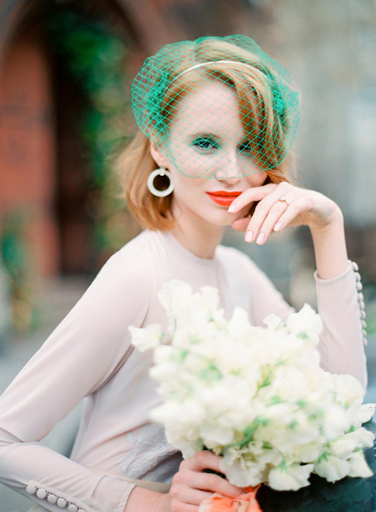 green birdcage veil