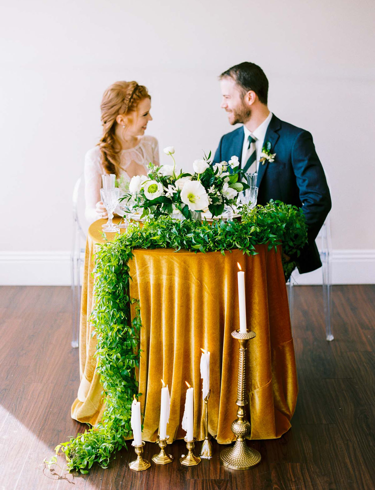 gold toned table linen