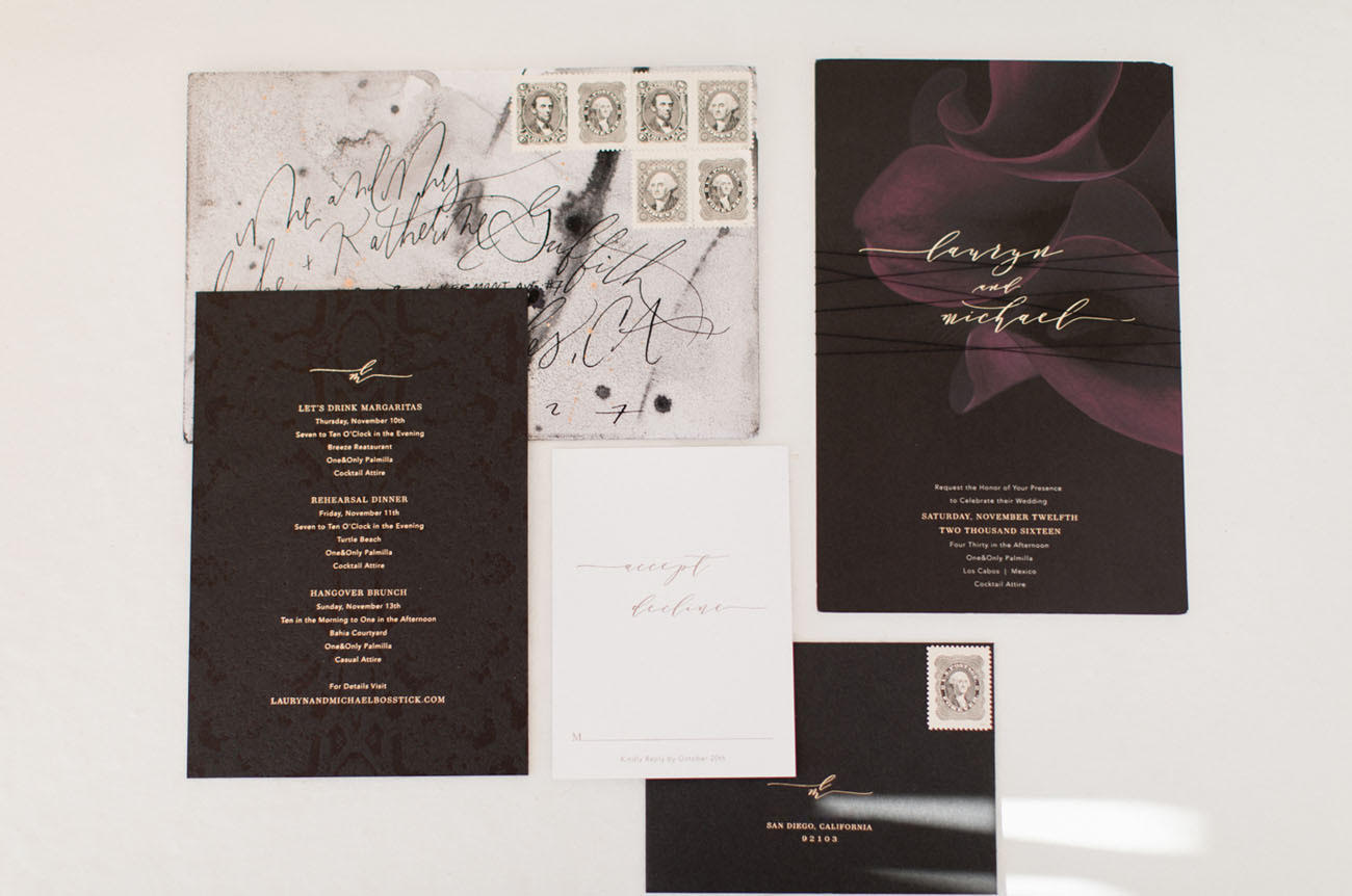 bold gothic wedding invite from bliss & bone