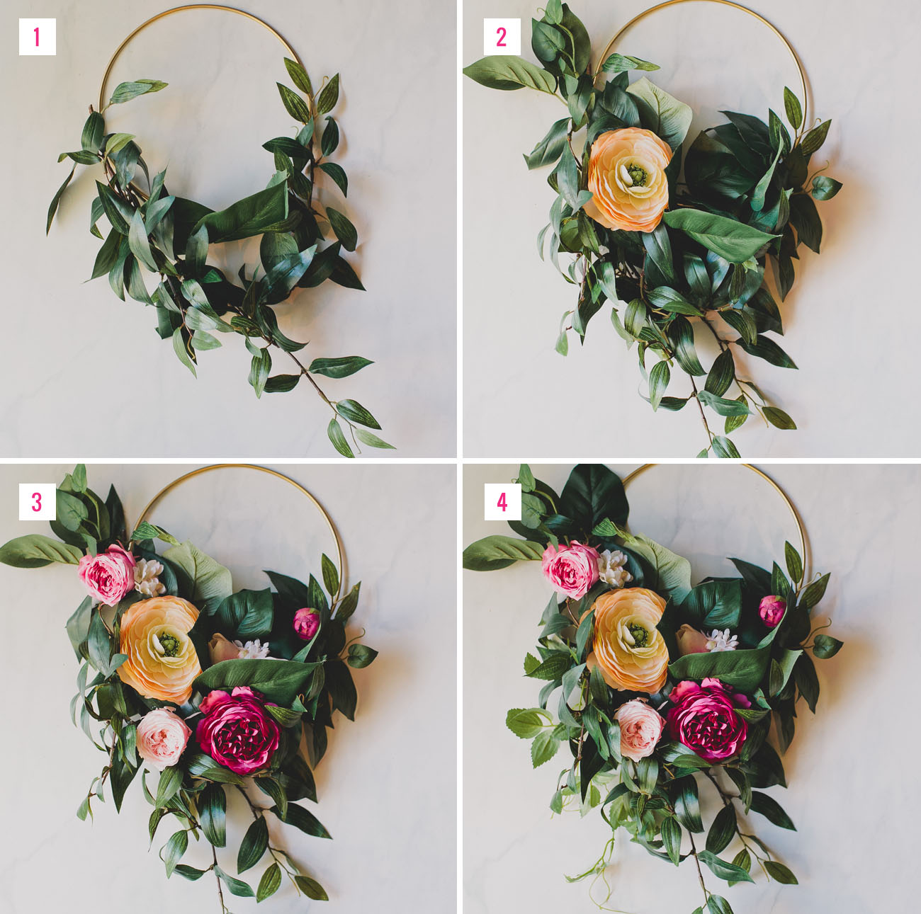 Diy silk flower hoop bouquet green wedding shoes diy floral hoop izmirmasajfo Gallery