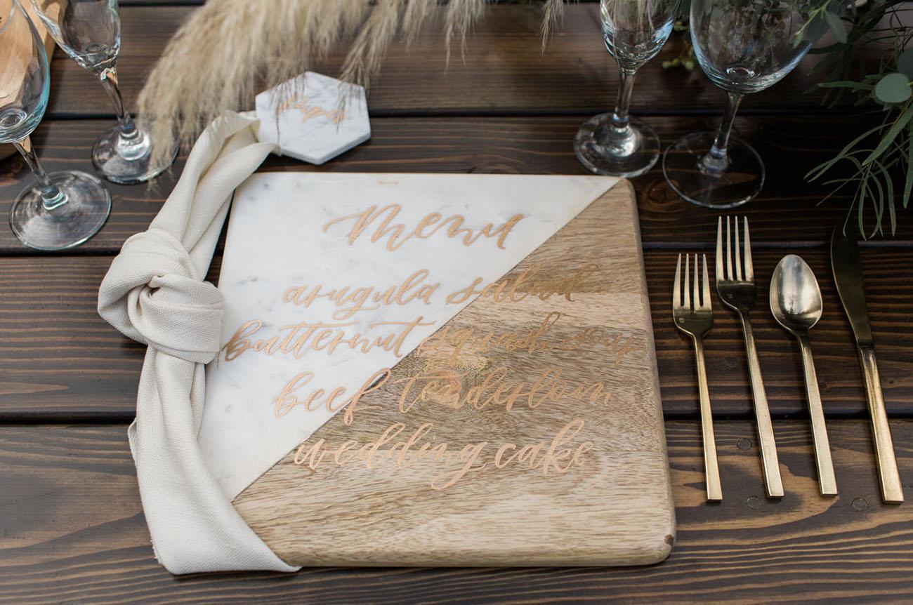 marble and wood menu