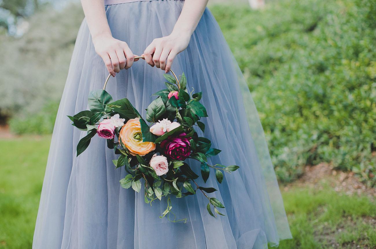Diy Silk Flower Hoop Bouquet Green Wedding Shoes