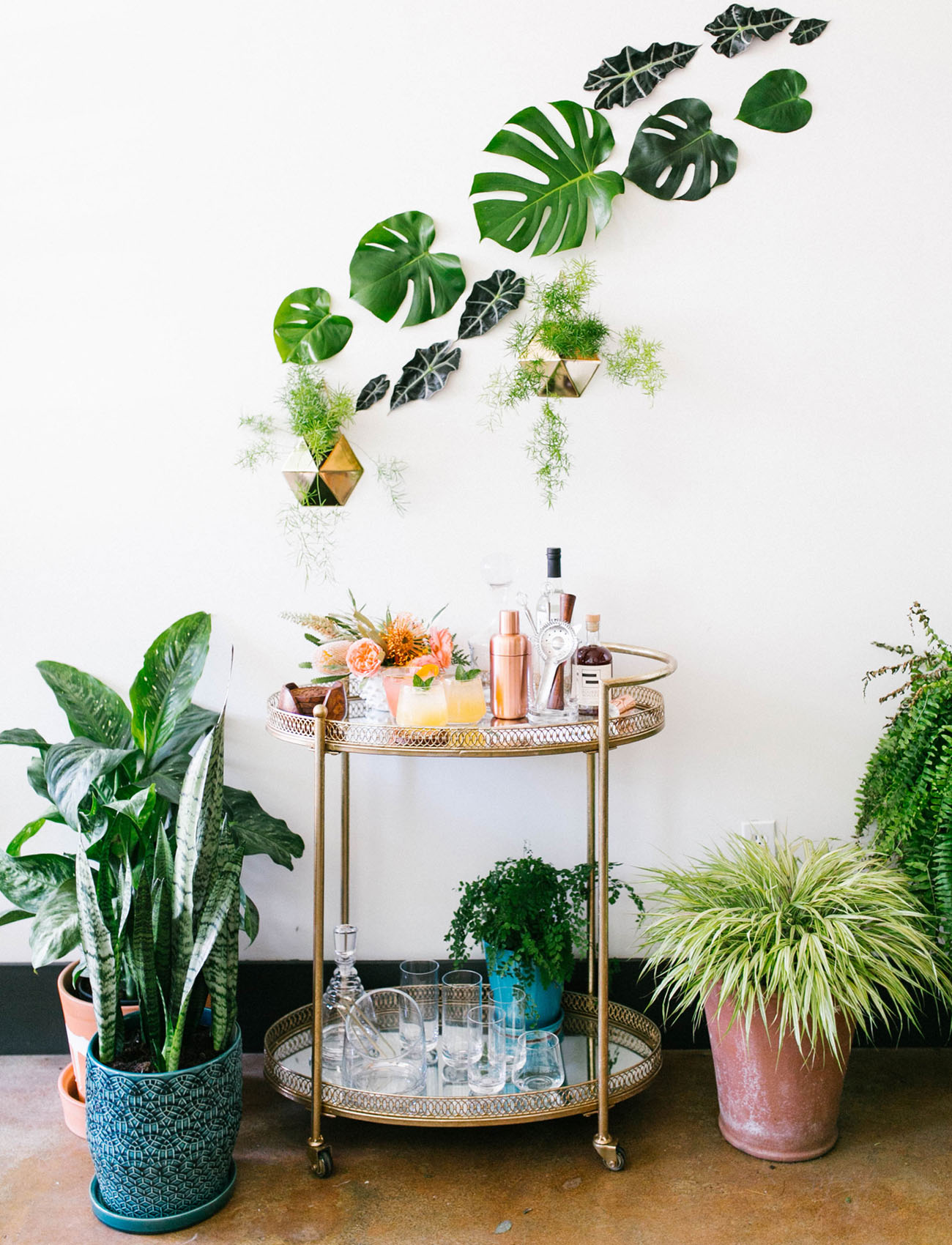 tropical bar cart