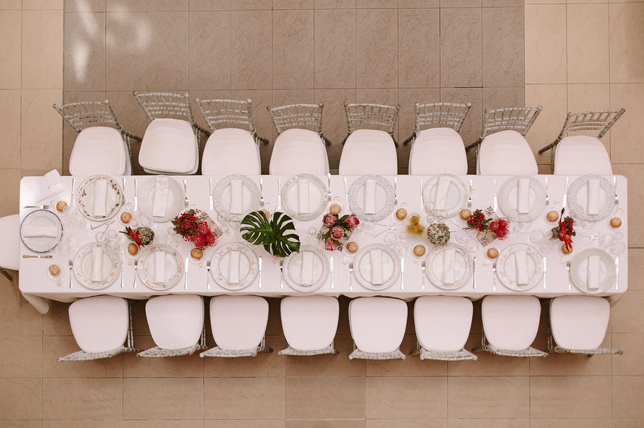 all white tables