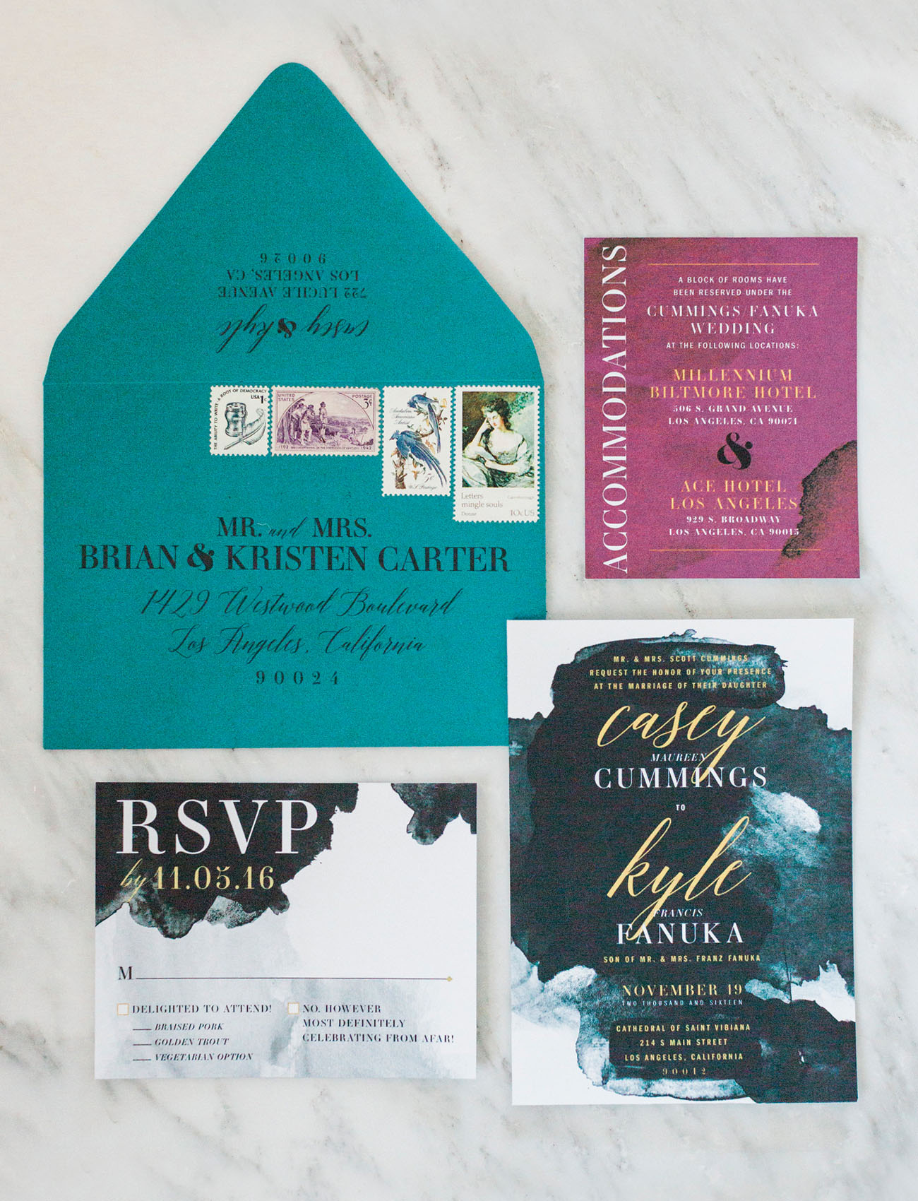 indigo watercolor invitation