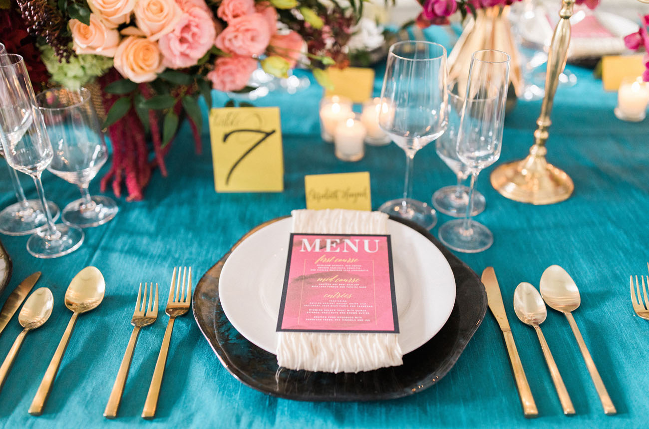 teal table linens
