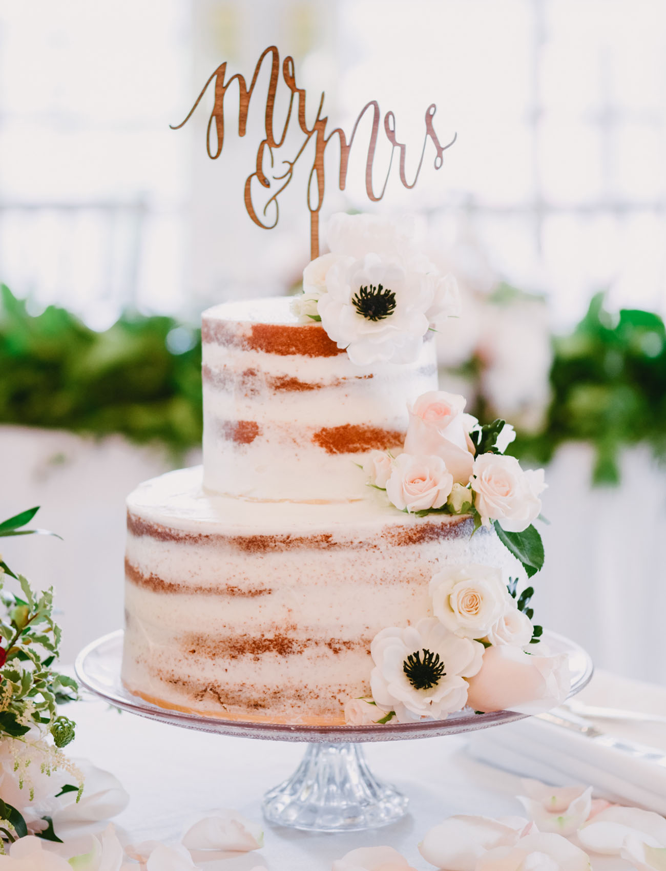 anemone naked cake