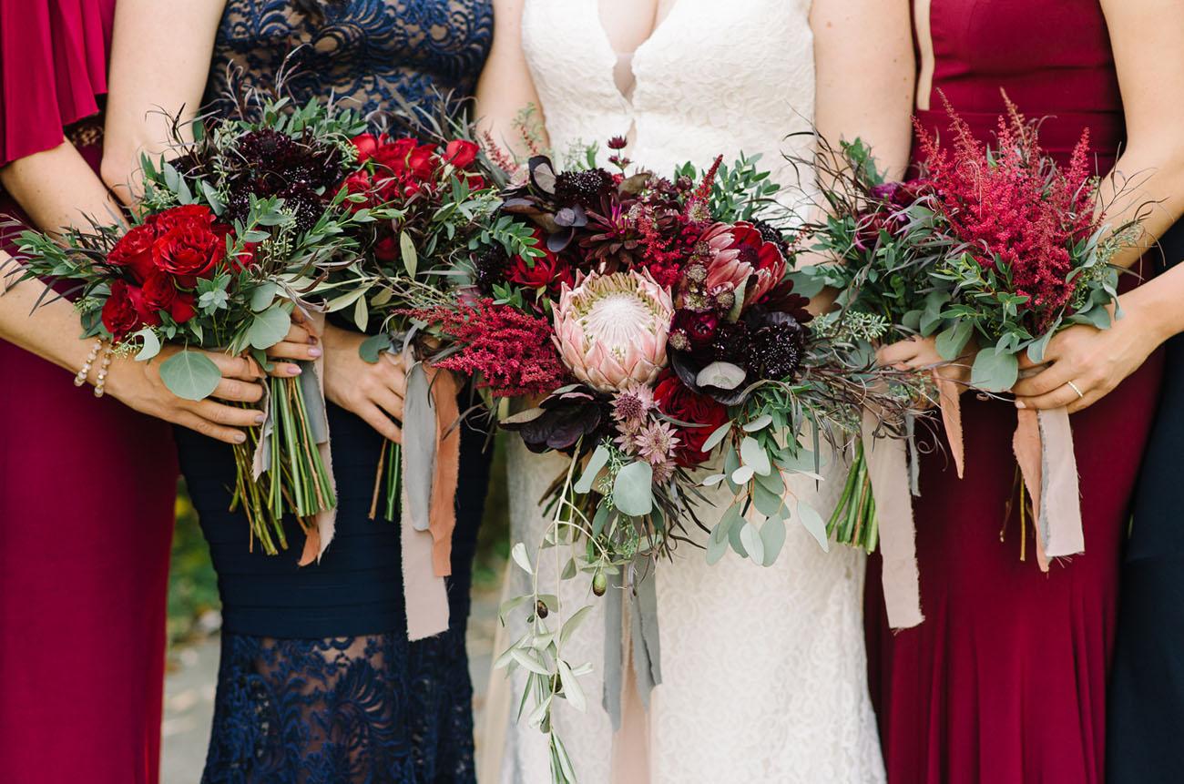burgundy protea bouquet