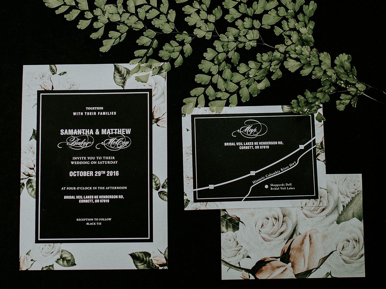 black floral invitations