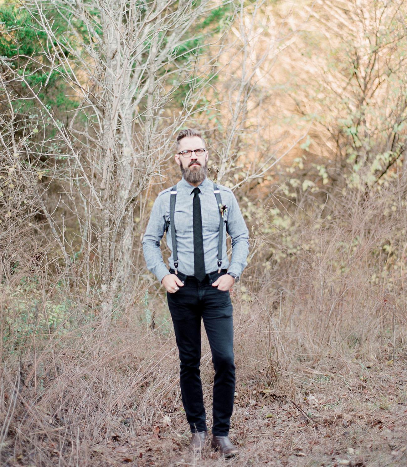 suspenders on groom
