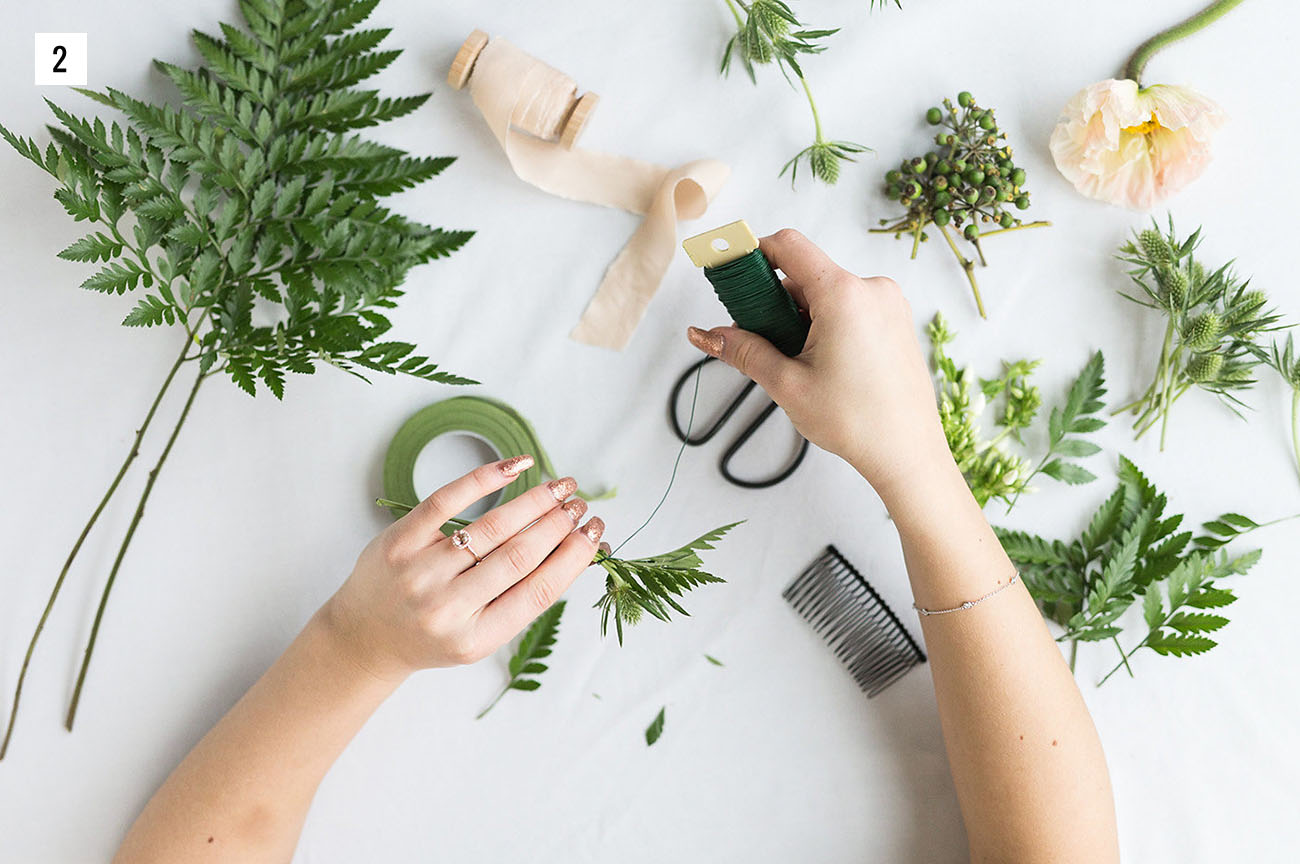 DIY Greenery Hairpiece