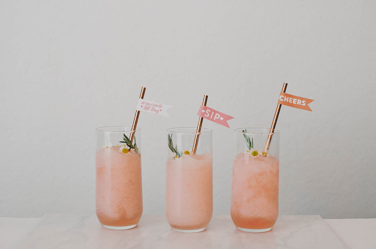 frose with rose gold metallic straws