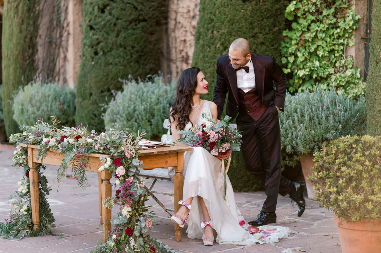 Bold Romantic Barcelona Wedding Reception With A Floral Dress