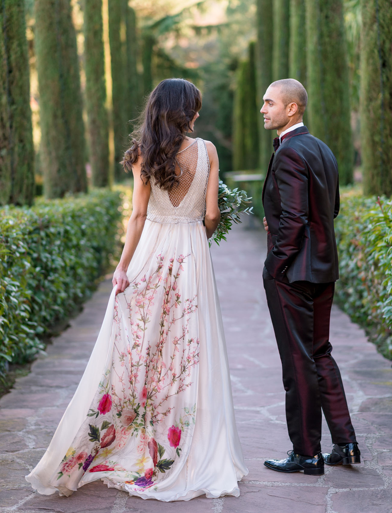 Bold romantic barcelona wedding reception with a floral for Flower dress for wedding