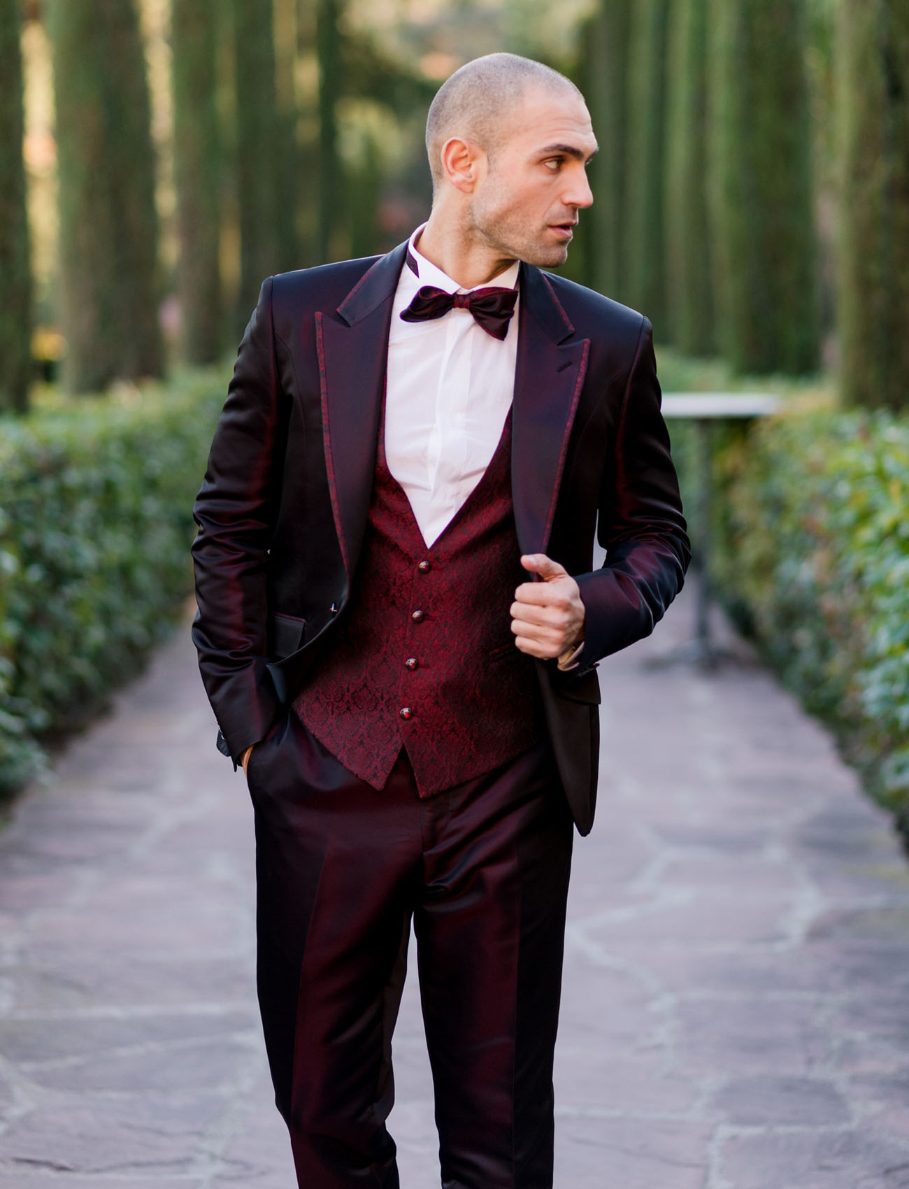 maroon suit groom