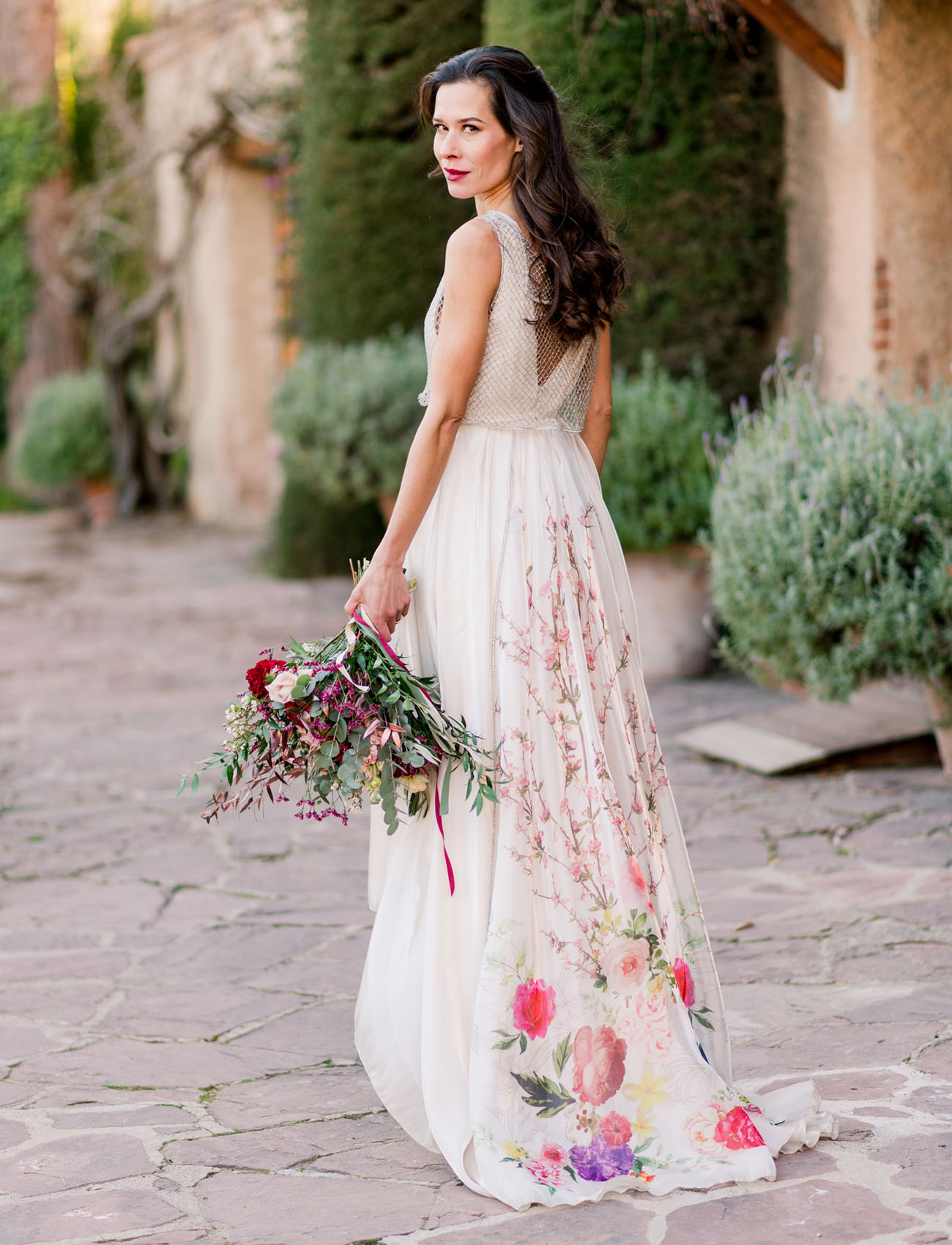 Bold romantic barcelona wedding reception with a floral for Floral print dresses for weddings