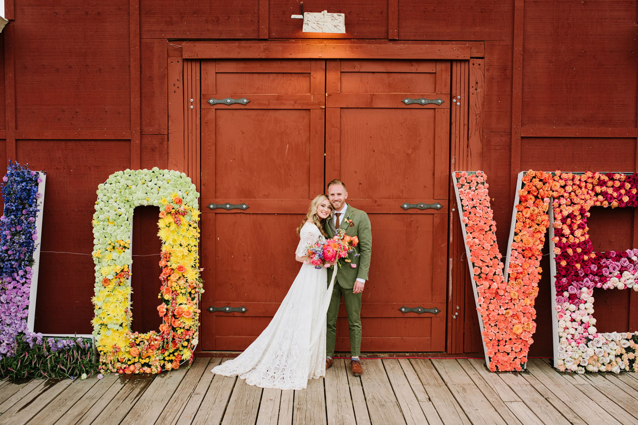 giant floral LOVE letters