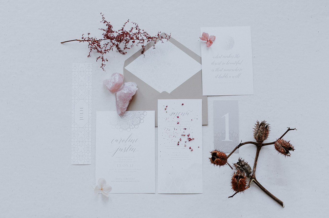 modern white invitation
