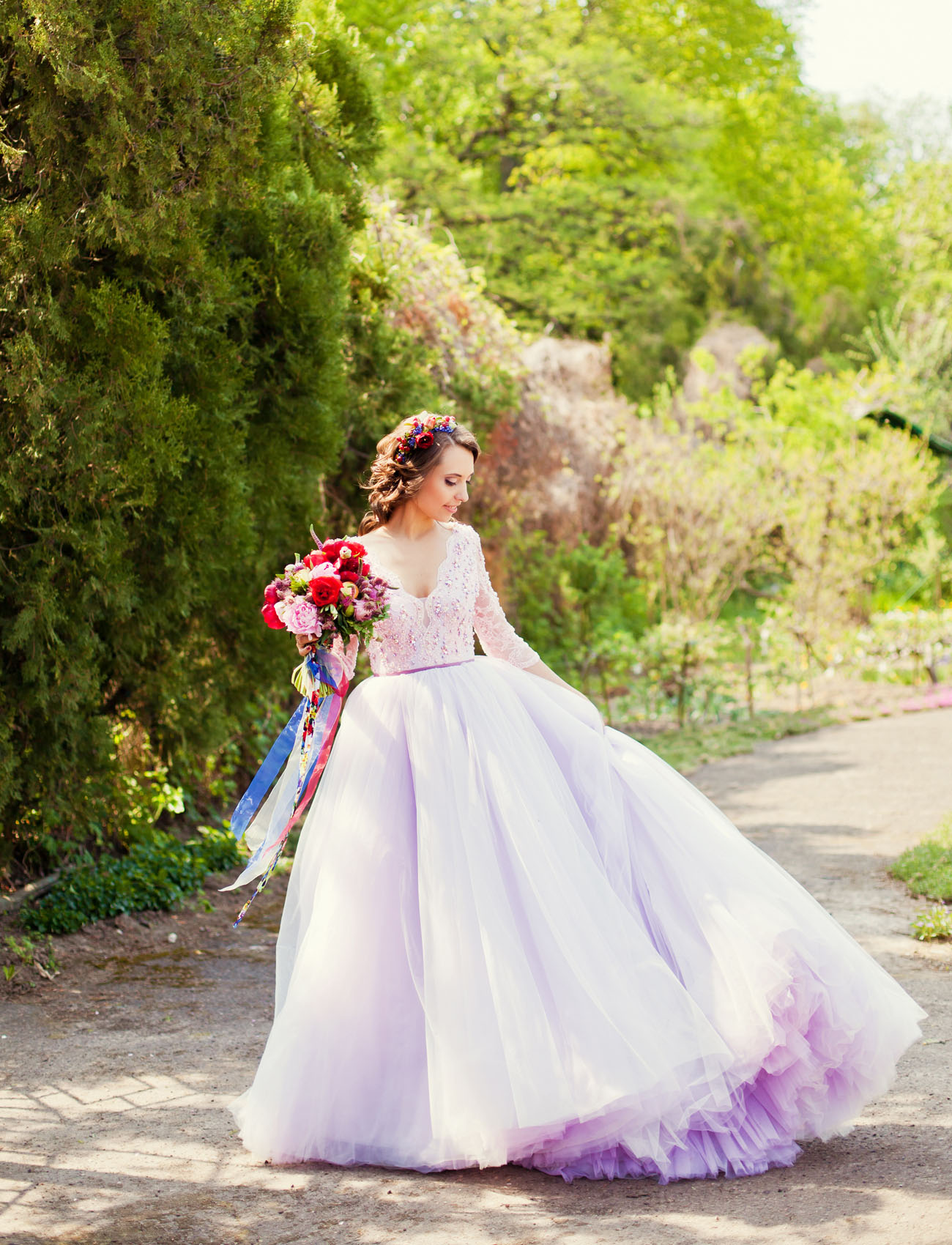 ESTY STYLE purple Wedding Dress