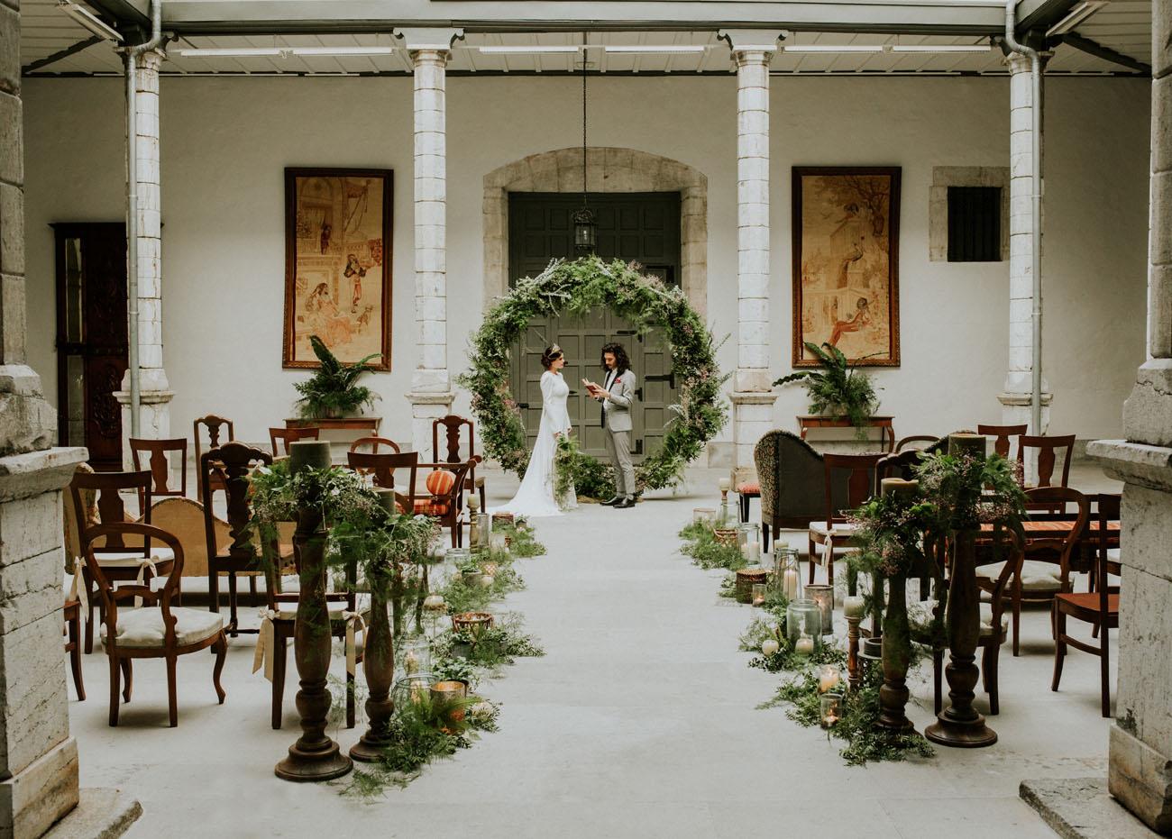 greenery wreath backdrop