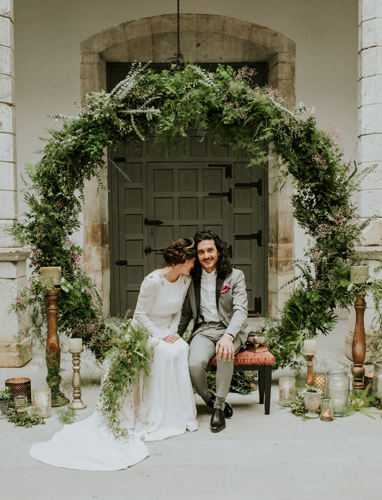 70s inspired spanish elopement filled with greenery for Wedding greenery ideas