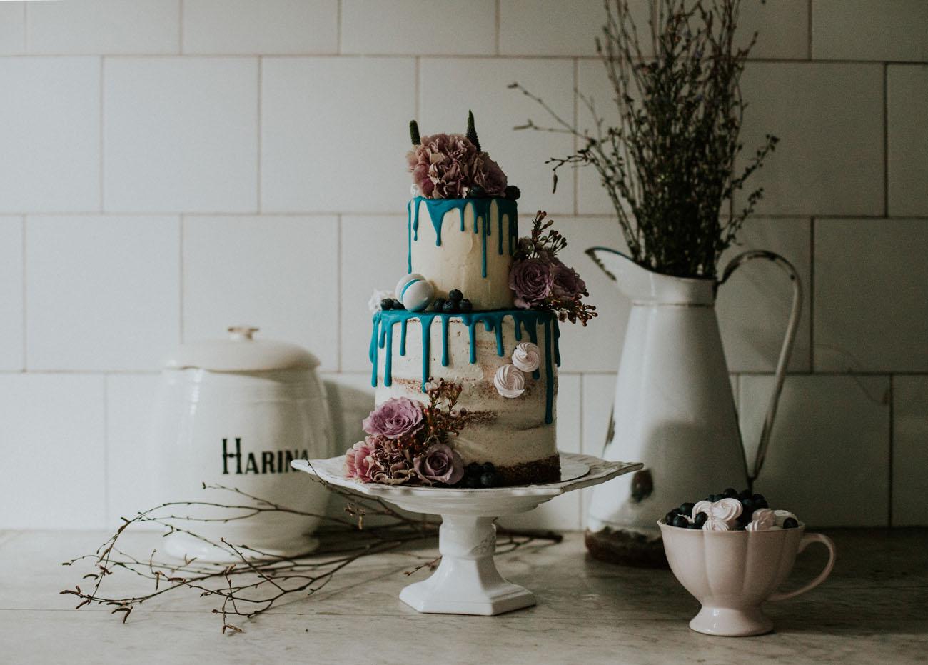 blue drip wedding cake