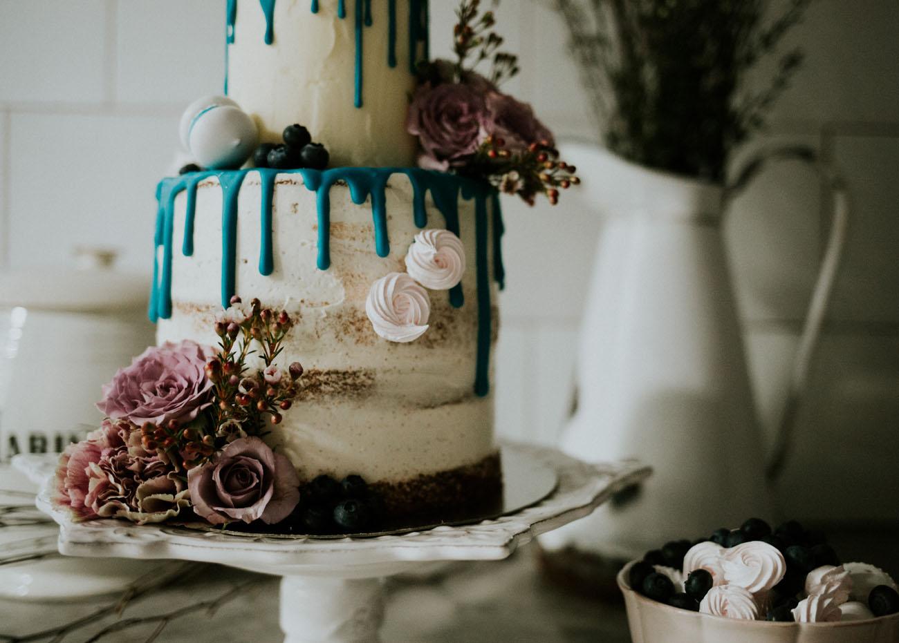 blue drip wedding cake