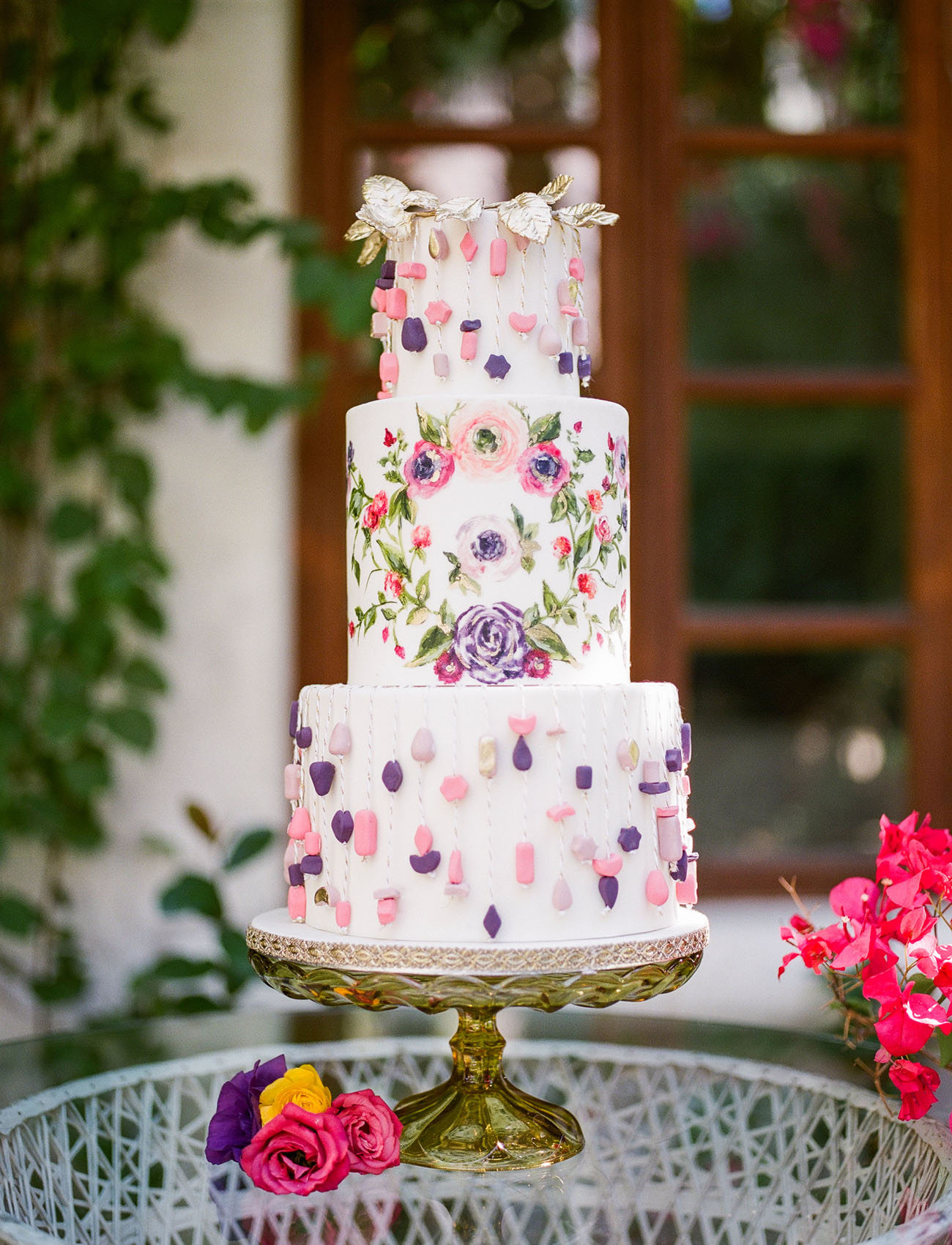 beaded wedding cake