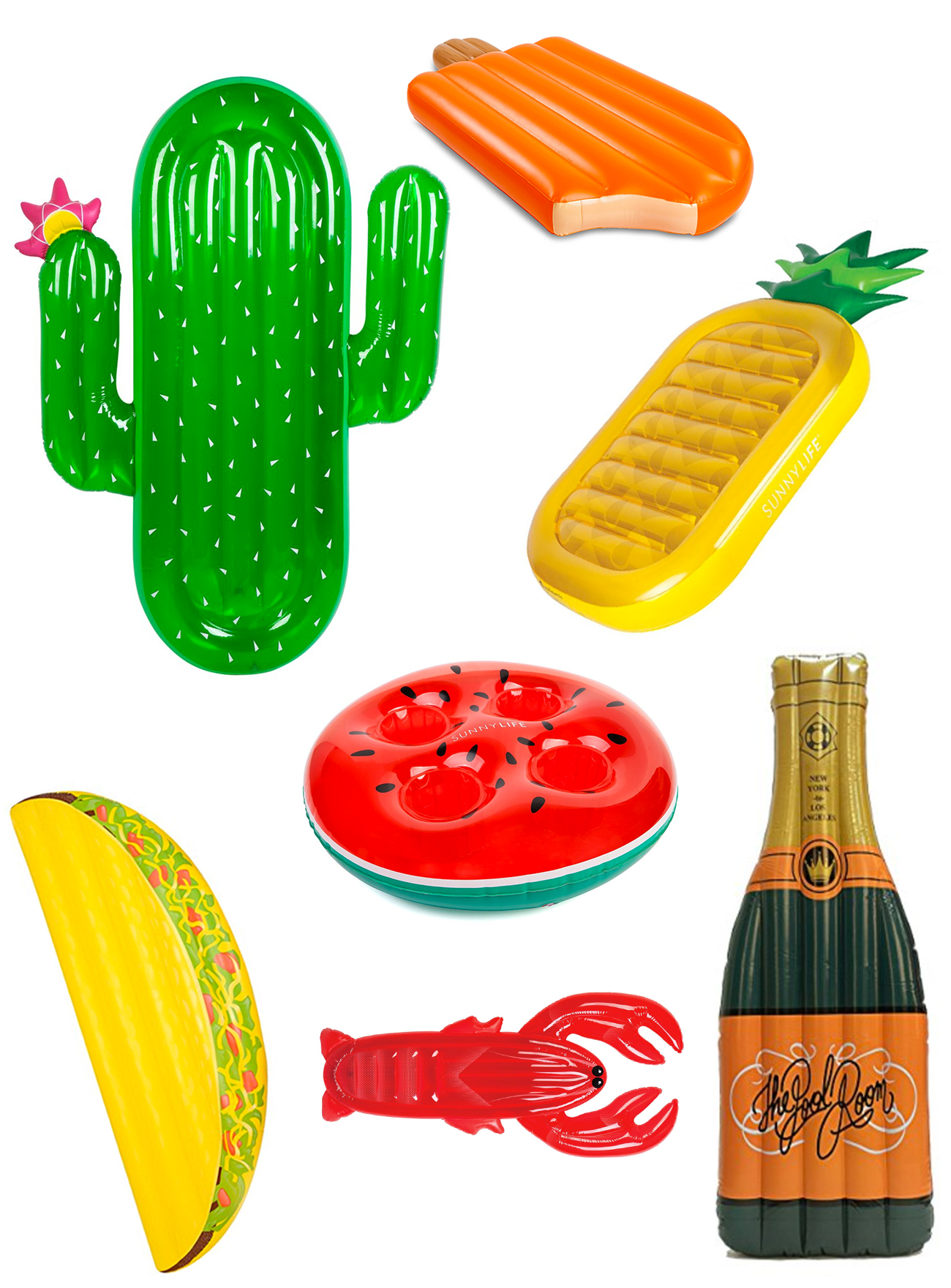 Luxe Lie On Float Cactus // Giant Orange Creamsicle Pool Float // Pineapple Pool  Float // Inflatable Watermelon Drink Holder // Inflatable Lobster Pool ...