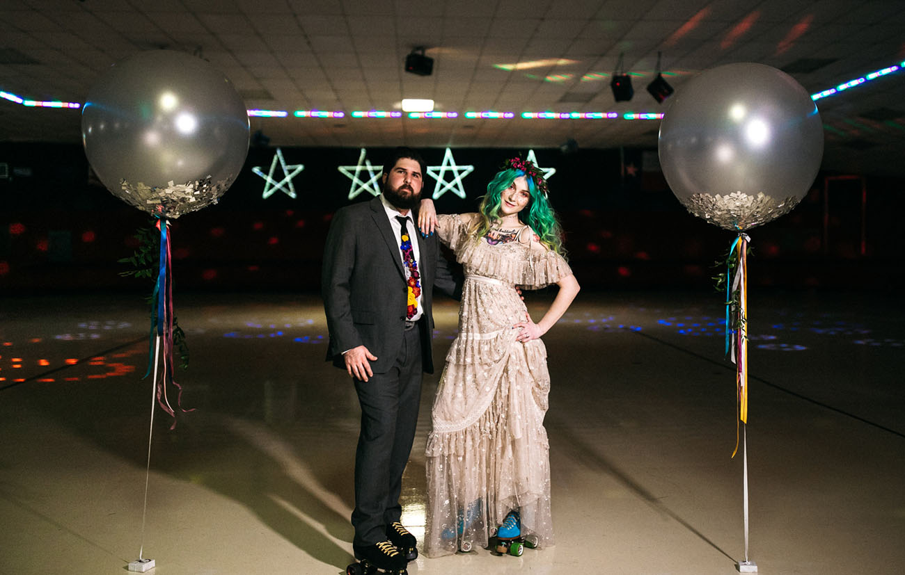 This Roller Rink Elopement Will Totally Take You Back!