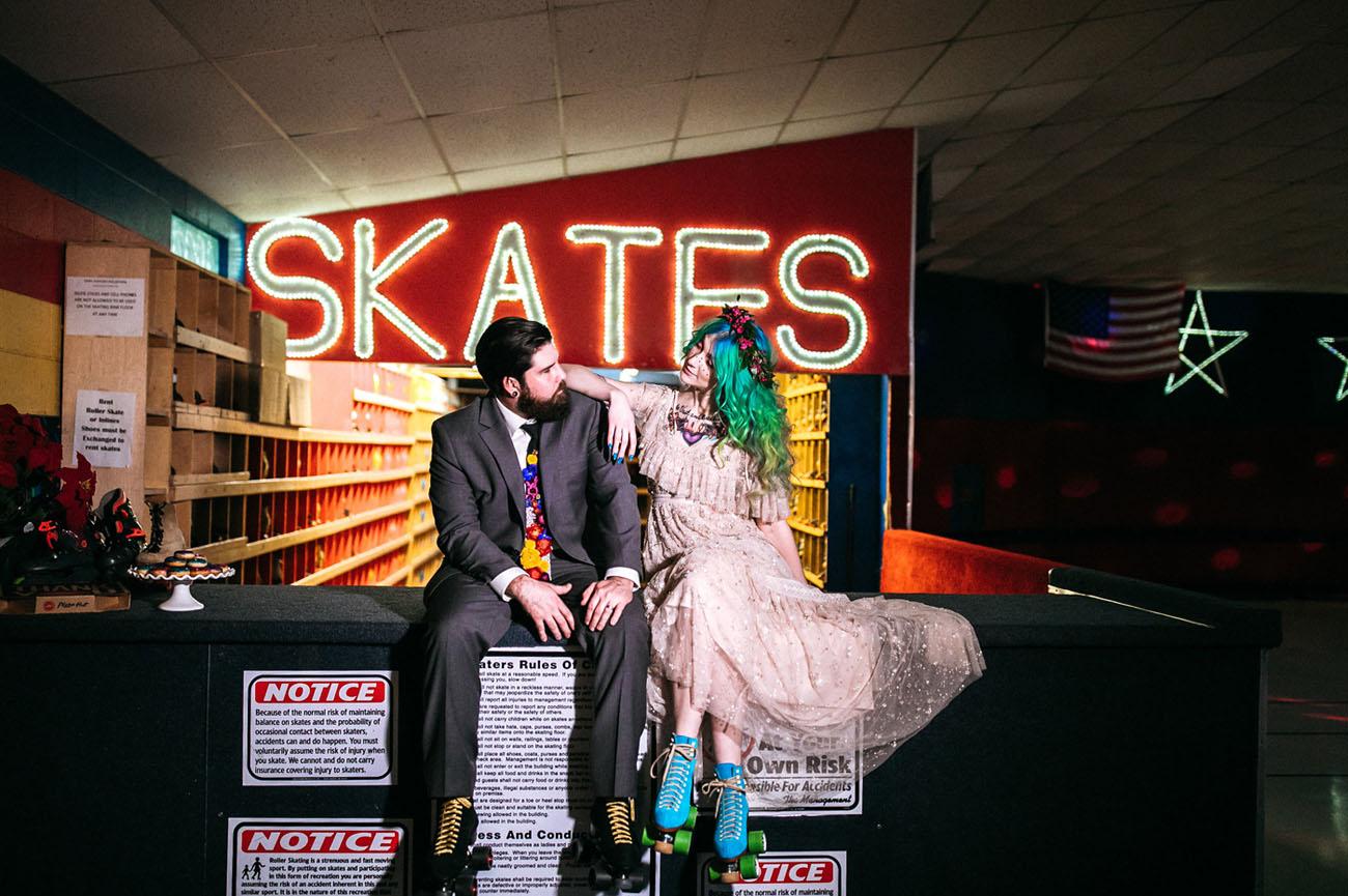 80s Retro Roller Rink Elopement
